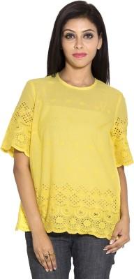 Simplona beau Casual Short Sleeve Self Design Women's Yellow Top