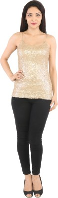 Tenn Casual Sleeveless Solid Women's Gold Top