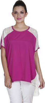 Meiro Casual Short Sleeve Solid Women's Pink Top at flipkart