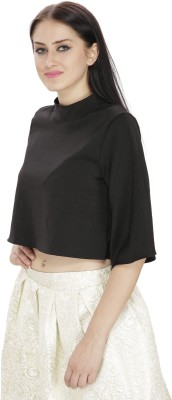 FASHMODE Casual 3/4 Sleeve Solid Women's Black Top