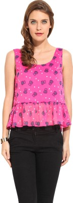 Rena Love Casual Sleeveless Printed Women's Pink Top