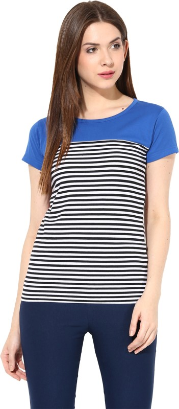 Miss Chase Casual Short Sleeve Striped Women's Blue, Black Top