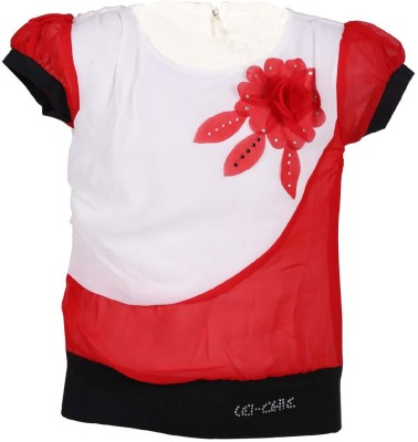 LEI CHIE Casual Short Sleeve Self Design Girl's Red Top