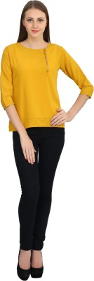 Glitterss Casual 3/4 Sleeve Solid Women,s Yellow Top