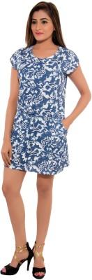 Feminine Casual Short Sleeve Printed Women's Blue Top