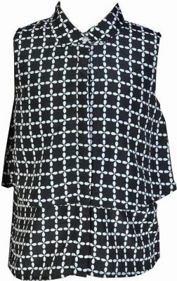Pinehill Casual Sleeveless Checkered Girl's Black, White Top