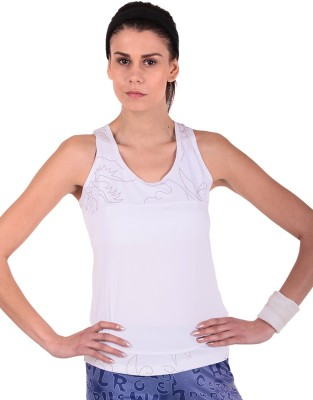 Sjoe Sports Sleeveless Printed Women's White Top