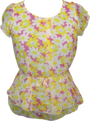 IN Love Formal, Casual, Party Cap sleeve Floral Print Women's Multicolor Top