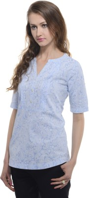 A Luv Ya Casual Short Sleeve Paisley Women's Light Blue Top