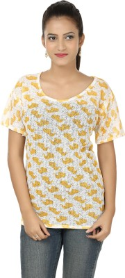 Clo Clu Casual Short Sleeve Printed Women,s White, Yellow Top