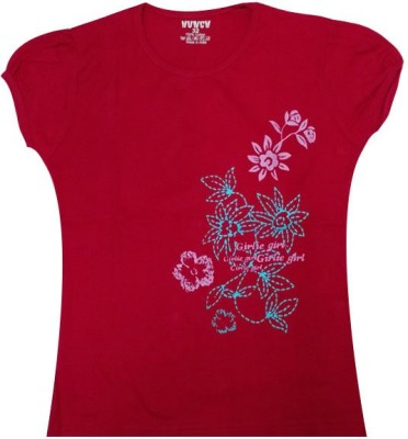 Hunch Casual Short Sleeve Graphic Print Girl's Red Top