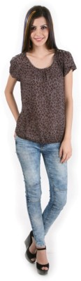 Mansicollections Casual Short Sleeve Printed Women's Grey Top