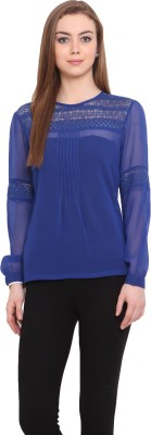 Porsorte Casual Full Sleeve Solid Women's Blue Top