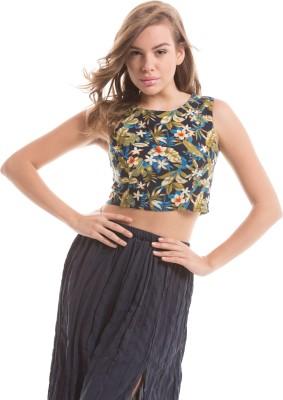 Prym Casual Sleeveless Self Design Women's Blue Top