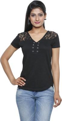 Five Stones Casual Short Sleeve Solid Women's Black Top