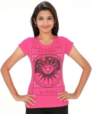 PEP18 Casual Short Sleeve Graphic Print Women's Pink, Black Top