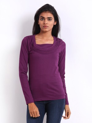 ESPRESSO Casual Full Sleeve Solid Women's Purple Top