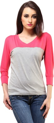 Cation Casual 3/4th Sleeve Solid Women's Grey, Pink Top at flipkart