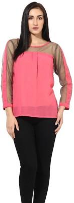 La Firangi Casual Full Sleeve Solid Women's Pink Top at flipkart