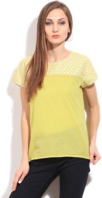 Imara Casual Short Sleeve Printed Women's Yellow Top