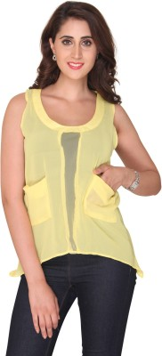 Bedazzle Casual Sleeveless Solid Women's Yellow Top