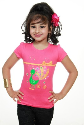 STRAWBERRY GIRL Casual Short Sleeve Printed Baby Girl,s Pink Top