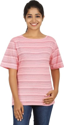 FICTIF Casual Short Sleeve Striped Women's Red Top