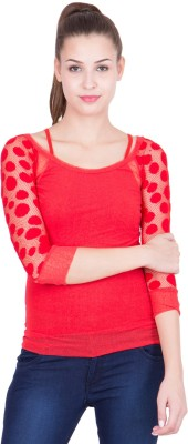 KAAF FASHION Party 3/4 Sleeve Solid Women's Red Top