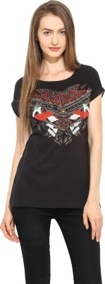Free & Young Casual Short Sleeve Printed Women's Black Top