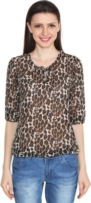 Eva De Moda Casual 3/4 Sleeve Animal Print Women's Brown Top