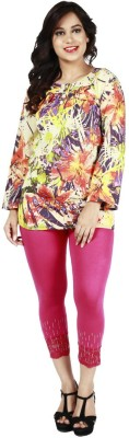 Fashionable Casual 3/4 Sleeve Floral Print Women,s Multicolor Top