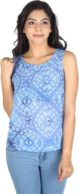 So Urban Casual Sleeveless Printed Women's Blue, White Top