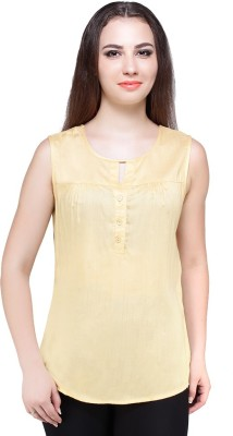 Styles Clothing Casual Sleeveless Solid Women's Yellow Top