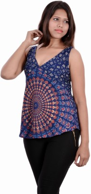 Indi Bargain Casual Sleeveless Printed Womens Blue Top
