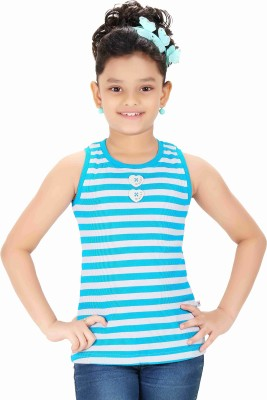 Triki Casual Sleeveless Striped Girl's Blue Top