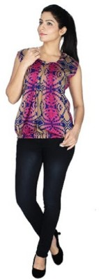 gsi Casual Sleeveless Printed Women,s Multicolor, Pink Top