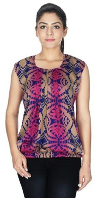 pinksisly Casual Sleeveless Printed Women's Multicolor, Pink Top