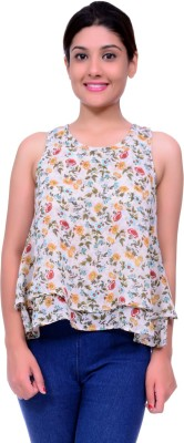 Lamora Casual Sleeveless Floral Print Women's Multicolor Top