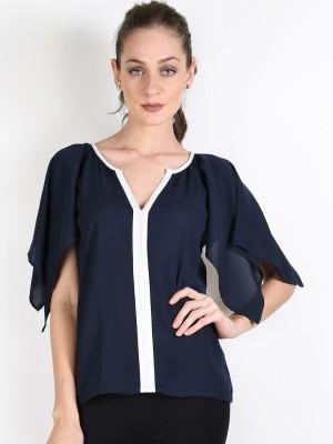 Oshea Casual Petal sleeve Solid Women,s Blue Top
