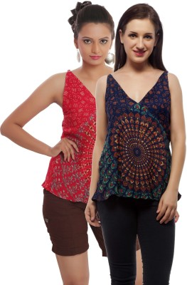 Indi Bargain Casual, Party, Formal, Beach Wear Sleeveless Printed, Floral Print Women's Dark Blue, Red Top
