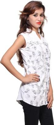 Kiez Casual Sleeveless Printed Women's White Top