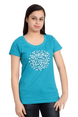 Parv Collections Casual Short Sleeve Printed Women's Light Blue Top