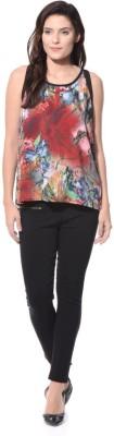 XNIVA Casual Sleeveless Printed Women's Multicolor Top