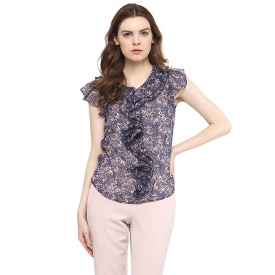 The Office Walk Formal Sleeveless Floral Print Women's Blue Top