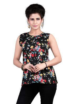 Ossi Casual Sleeveless Floral Print Women's Black Top