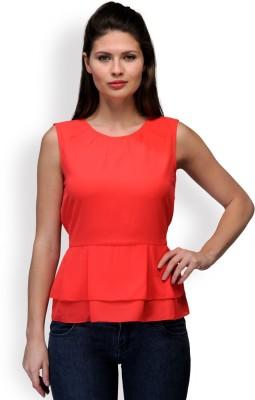 Purplicious Casual, Formal Sleeveless Solid Women's Orange Top