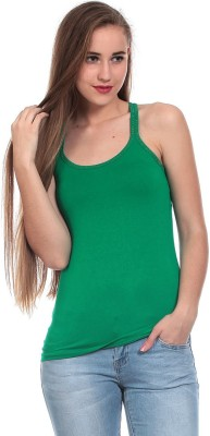 Claude 9 Casual Sleeveless Solid Women's Green Top