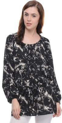 Moderno Casual Full Sleeve Printed Women's Black, White Top