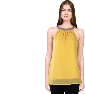 Lady Stark Party Sleeveless Embellished Women's Yellow Top