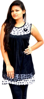 Aarti Collections Casual, Festive, Party Sleeveless Self Design Women's Black, White Top